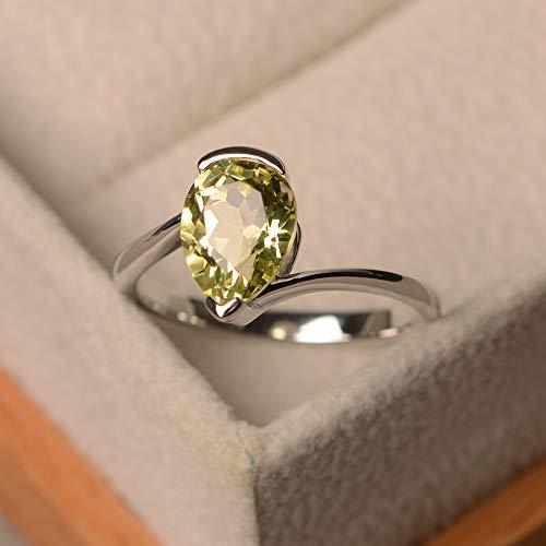 (solitaire ring lemon quartz rings for women sterling silver engagement)