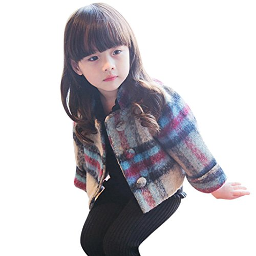 (Sunbona Toddler Baby Girls Plaid Fleece Jacket Outwear Winter Warm Thick Puffer Parka Coat Clothes (Khaki, 4T(2.5~3.5years)))