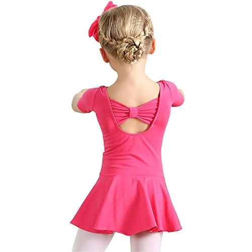 Ballerina Dress Costume Tights Clothing for Girls Tutu Leotard Ballet Child 4T 3T Dance Toddler Girl Gymnastics Dress Size 4 US-S (Rose Red,110) ()