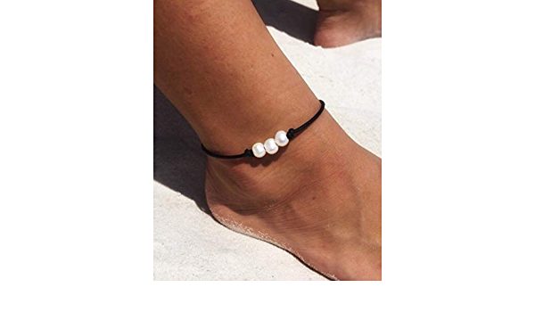 beach anklet Fresh water pearl and leather anklet triple pearl anklet bohemian anklet