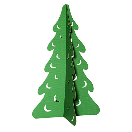 Festive Green Fir Tree Cardboard Decorating Kit (Small), 48 inch x 29 inch Diameter Christmas Decoration, Assembly Required