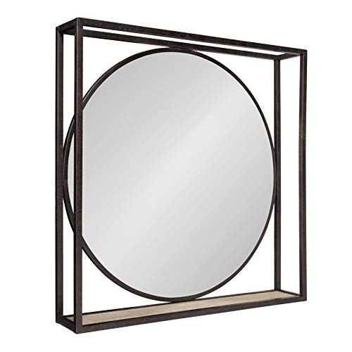 Kate and Laurel McCauley Decorative Rustic Modern Round Vanity Mirror with Square Metal Frame and Wood Shelf, Bronze
