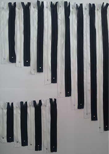 Reißverschlüsse sortiert (24 Stück), jeweils 1 Reißverschluss schwarz und weiß in 12 Längen