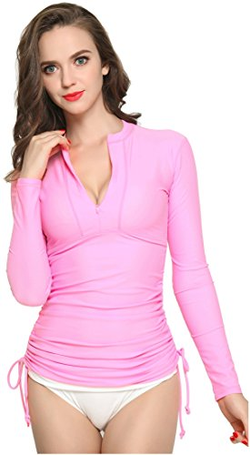 ilishop Women's UV Sun Protection Long Sleeve Rash Guard Wetsuit Swimsuit Top Pink M-US6