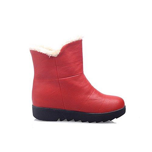 AllhqFashion Mujeres Puntera Redonda Tacón Medio Material Suave Caña Baja Sólido Botas Rojo