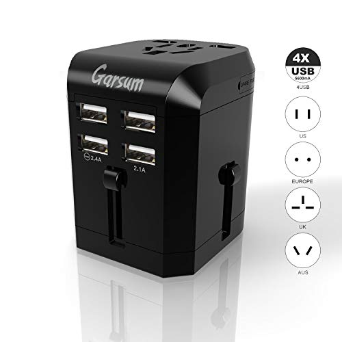 Universal Travel Power Adapter -Garsum All in One Worldwide International Wall Charger AC Plug Adaptor with 3.5A Smart Power 4X USB For USA EU UK AUS Cell Phone Tablet Laptop by Garsum