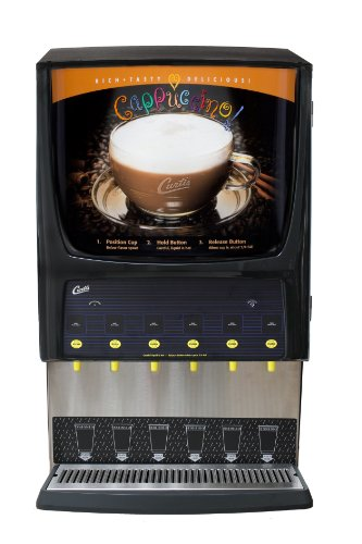 (Wilbur Curtis G3 System 6 Station Cappuccino,  (Two 3 Lb, Three 5 Lb And One 10 Lb Hopper), Inside Display - Commercial Cappuccino Machine - PCGT6 (Each))