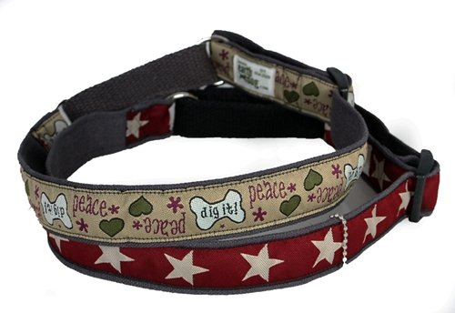 Earthdog Decorative Hemp Martingale Collar, Star Pattern (Blue, (Hemp Martingale Dog Collars)