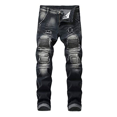 Men's Elastic Personality Motorcycle Style Patchwork Denim Trousers, MmNote (Discovery Rain Jacket Womens)