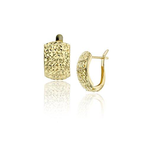 14K Yellow Gold 10X15mm Diamond Cut Latch Back Huggie -