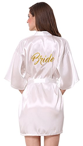JOYTTON Women's Wedding Party White Satin Kimono Robe with Gold Glitter Bride,White(bride),XXL for Bust 42.8-46.5 inch