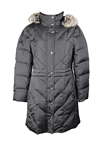 London Fog Plus Size Black Faux-Fur-Trimmed Quilted Coat L
