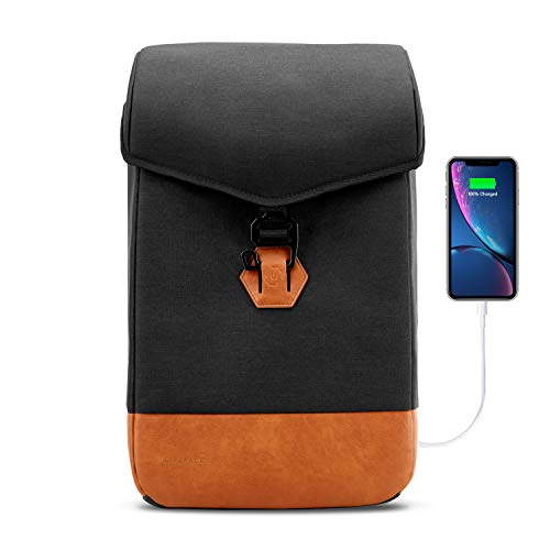 Ranger Laptop - The Hustle - Anti Theft Travel & Business Laptop Backpack, Slim Durable Laptops Backpack with USB Charging Port, Water Resistant Vegan Leather Computer Bag for Women & Men Fits 15