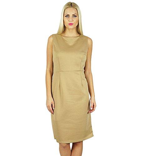 b91eab5d7df7c Bimba Frauen, figurbetontes Kleid über Knie-Sleeveless Abschlussball-Kleid  Braun