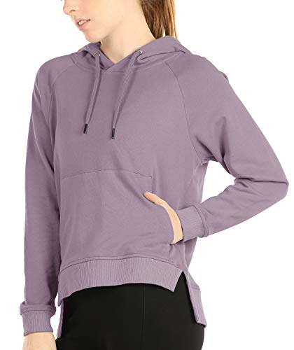 icyzone Hoodies for Women - Workout Athletic Sweatshirts Exercise Long Sleeve Pullover with Kangaroo Pocket (M, Lilac)