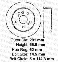 Front+Rear Kit 4 OEM Replacement Disc Brake Rotors 5lug Fits:- Sienna High-End 8 Semi-Metallic Pads