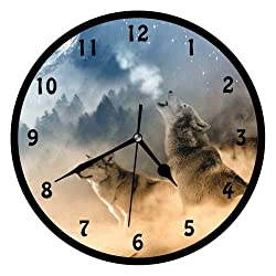 47BuyZHJX Wolf-Decorative 10 Inchs Round Wall Clock,Silent Non Ticking Quartz Battery Operated Black Wall Clock for Home/Office/School.