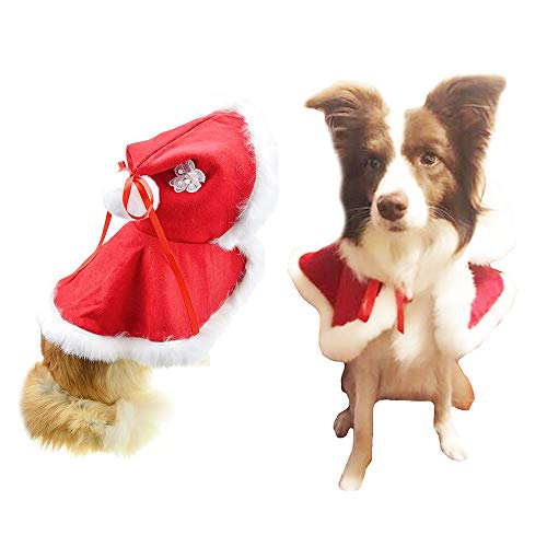 FLAdorepet Rabbit Fur Dog Cloak Cap Luxury Winter Warm Dog Jacket Coat Christmas Dog Costume Outfits Clothes Party Dress (XL, Red)