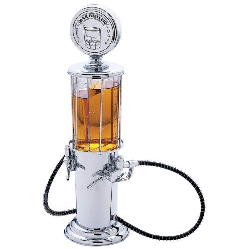 - Wyndham House Bar Butler Antique Gas Pump Beverage Dispenser with 2 16 Ounce Containers, Silver