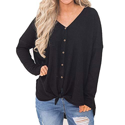 Wing Black Sweatshirt - Sayhi Womens Loose Knit Tunic Blouse Knot Henley Tops Bat Wing Plain Shirts Sweatshirt(Black,S)