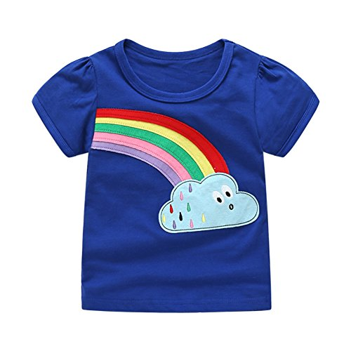 Pair Organic Toddler T-shirt - Toddler Boys Girls T-shirts Tops Organic Short-sleeved Cute Animals Prints Embroidery Unisex 2t-7t (3T, Blue)