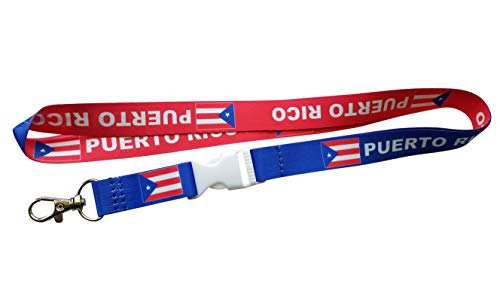 Puerto Rico Flag Reversible Red/Blue Lanyard/Keychain with Clip for Keys or id Badges. Perfect for School id Badges, Work Badges, car Keys, House Keys, Work Keys (1 Lanyard)