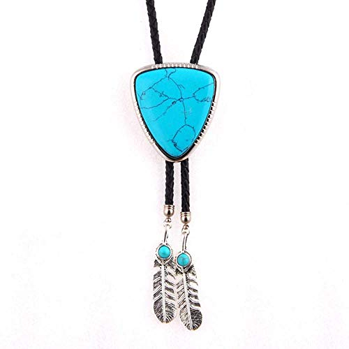 (Western multi-colorful nature agate stone Bolo Tie for Men and Women Feather metal Pendant,Native American Leather Bolo Tie String (Blue turquoise) )