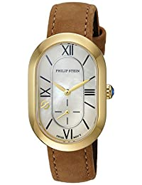 Philip Stein Women's 'Modern' Swiss Quartz Stainless Steel and Leather Casual Watch, Color:Brown (Model: 74GP-CMOP-CSTCC)
