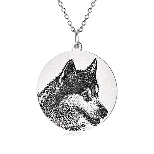 LONAGO Personalized Photo Necklace Sterling Silver Custom Engraved Picture Image Necklace Pendant Black and White Color Gifts - Heart Portrait Necklace Pendant