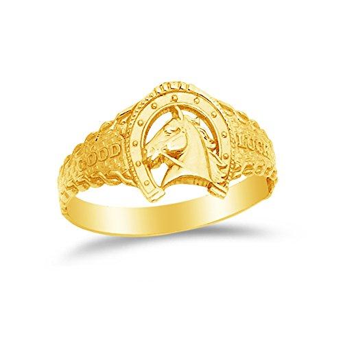 Size - 4.5 - 14k Yellow Gold Lucky Horseshoe Ring -
