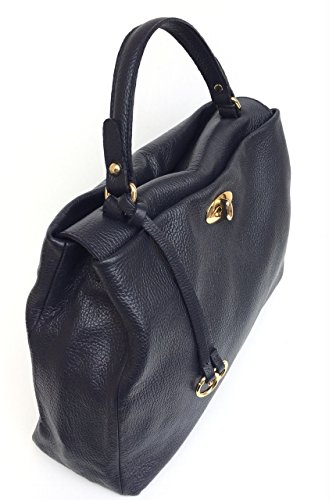 SUPERFLYBAGS Borsa Donna a Mano in Vera Pelle morbida modello Verig Made in Italy Blu scuro