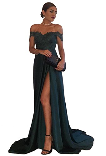 Sogala Shoulder Dark Green Long Prom Dresses For Women Side Slit Lace Appliques Sexy Womens Dress (Prom Dress Long Dark)