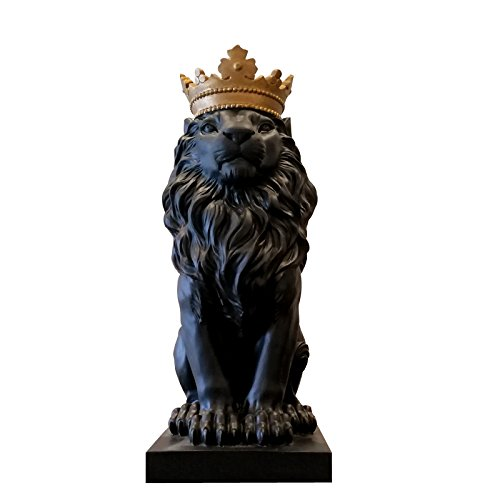 Foylome Resign King of The Forest Lion Statue Animal Figure Lion with Crown Statue (Black)