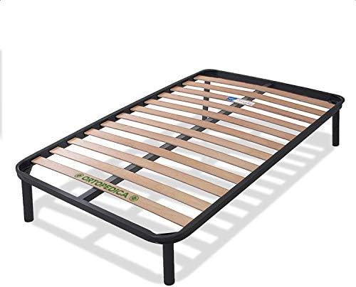 Dormiland – Somier de cama de una plaza y media, 120 x 190, con patas, barra central, láminas y estructura de soporte completamente de hierro