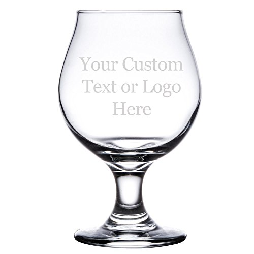 Custom DIY Personalized Beer Tulip Glass - 16 oz Belgian Style Pub Glass (Single Sided)