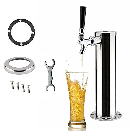 1 Taps Draft Beer Tower,Faucet Stainless Steel Homebrew for Bar &Family Party (Silver) (1 Faucet)