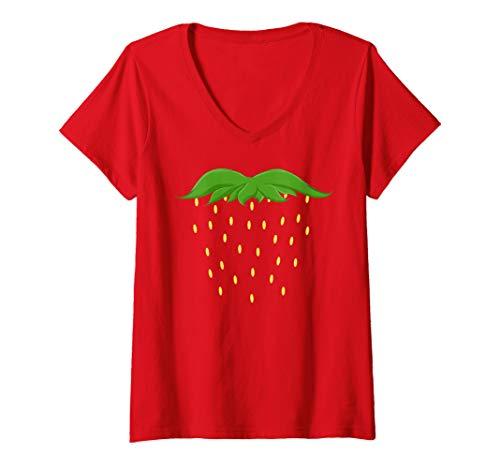 Womens Halloween Shirt Kids Berry Fruit STRAWBERRY COSTUME Dress Up V-Neck T-Shirt