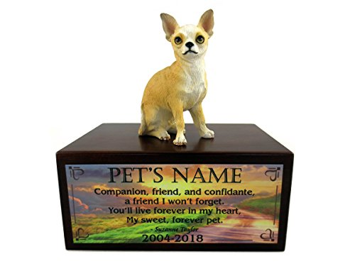 (Conversation Concepts Beautiful Paulownia Small Wooden Urn with White & Tan Chihuahua Figurine & Personalized Poem My Forever Pet)