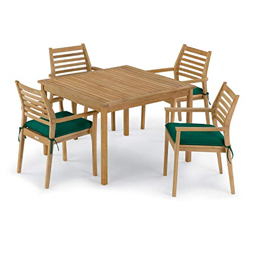 Oxford Garden Classic 5 Piece Natural Shorea Patio Dining Set W/ 42 Inch Square Table & Sunbrella Canvas Hunter Green Cushions