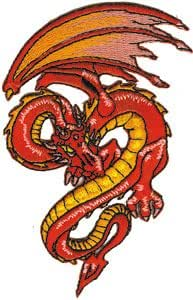 Dragon Red Fantasy Embroidered Iron On Patch