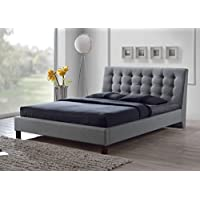 Baxton Studio Zeller Grey Linen Modern Upholstered Headboard Bed, Queen