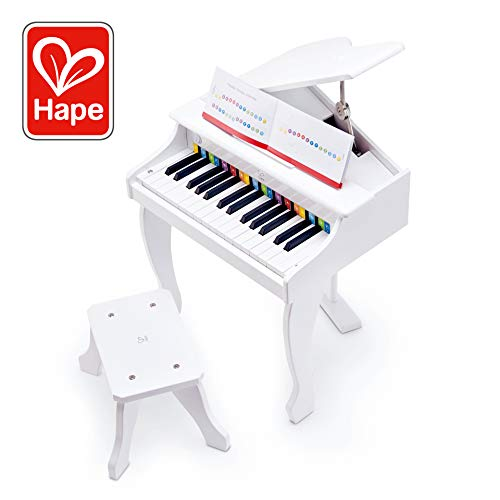 Grand Piano Music Toy - Hape Deluxe White Grand Piano | Thirty Key Piano Toy with Stool, Electronic Keyboard Musical Toy Set for Kids 3 Years+