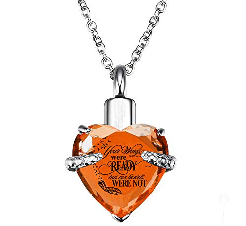 (PREKIAR Heart Cremation Urn Necklace for Ashes Urn Jewelry Memorial Pendant with Fill Kit and Gift Box - Always on My Mind Forever in My Heart (Your Wings were Ready-Caramel))