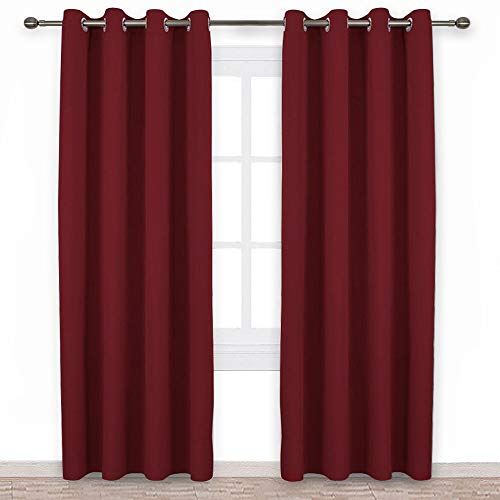 NICETOWN Burgundy Blackout Draperies Curtains - Pair of Grommet Top Thermal Insulated Blackout Decorative Curtains/Panels / Drapes (52 Inch Wide by 95 Inch Long, Burgundy Red) - Drapes Pair