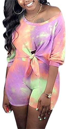 Women Short Sleeve Tie Dyed Print Tie Front Crop Top Shorts Bodycon Romper Plus Size 2 Piece Outfits