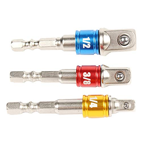 Tharv❤3Pcs 1/4 3/8 1/2 Drive Sockets Adapter Sets Socket Wrench Adapter - Adapter Socket 0.375