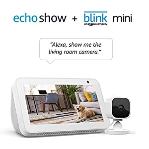 Best Epic Trends 41rgkj4nqAL._SS300_ Echo Show 5 Sandstone with Blink Mini Indoor Smart Security Camera, 1080 HD with Motion Detection