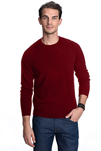 Malo Cashmere Sweater (State Cashmere Men's 100% Pure Cashmere Long Sleeve Pullover Crew Neck Sweater, Burgendy, X-Large)