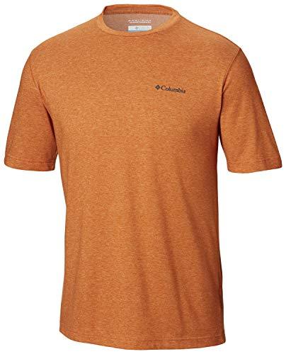 (Columbia Men's Thistletown Park Crew, Sun Protection, Breathable, orange, Desert Sun Heather)