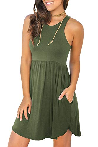 (Unbranded Women'S Sleeveless Loose Plain Dresses Casual Short Dress With Pockets Small, 07 Army Green)